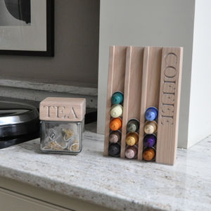 Personalised Whitewash Oak Coffee Pod Rack - coffee lovers