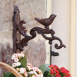 Antique Brown Ornate Bird Scroll Hanging Basket Bracket - furnishings & fittings