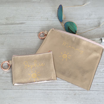 Personalised Rose Gold Mummy And Me Pouch