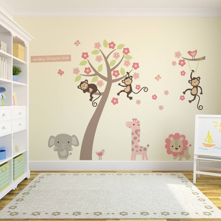 Pastel Blossom Tree With Animals Wall Sticker