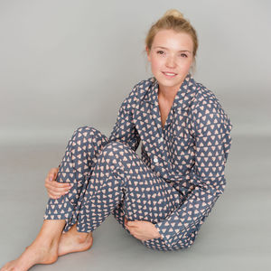 Cotton Pyjamas In Grey Heart Print - women's fashion