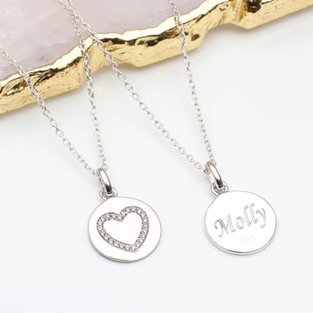 Personalised Silver And Precious Crystal Heart Necklace