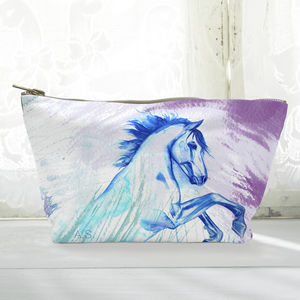 Personalised Rearing Horse Canvas Cosmetic Bag
