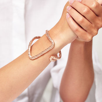 Hammered Rose Gold Statement Bracelet