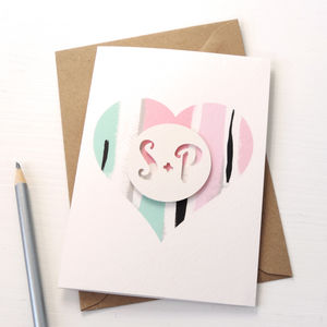 Personalised Love Heart Card: Painterly Abstract - engagement gifts