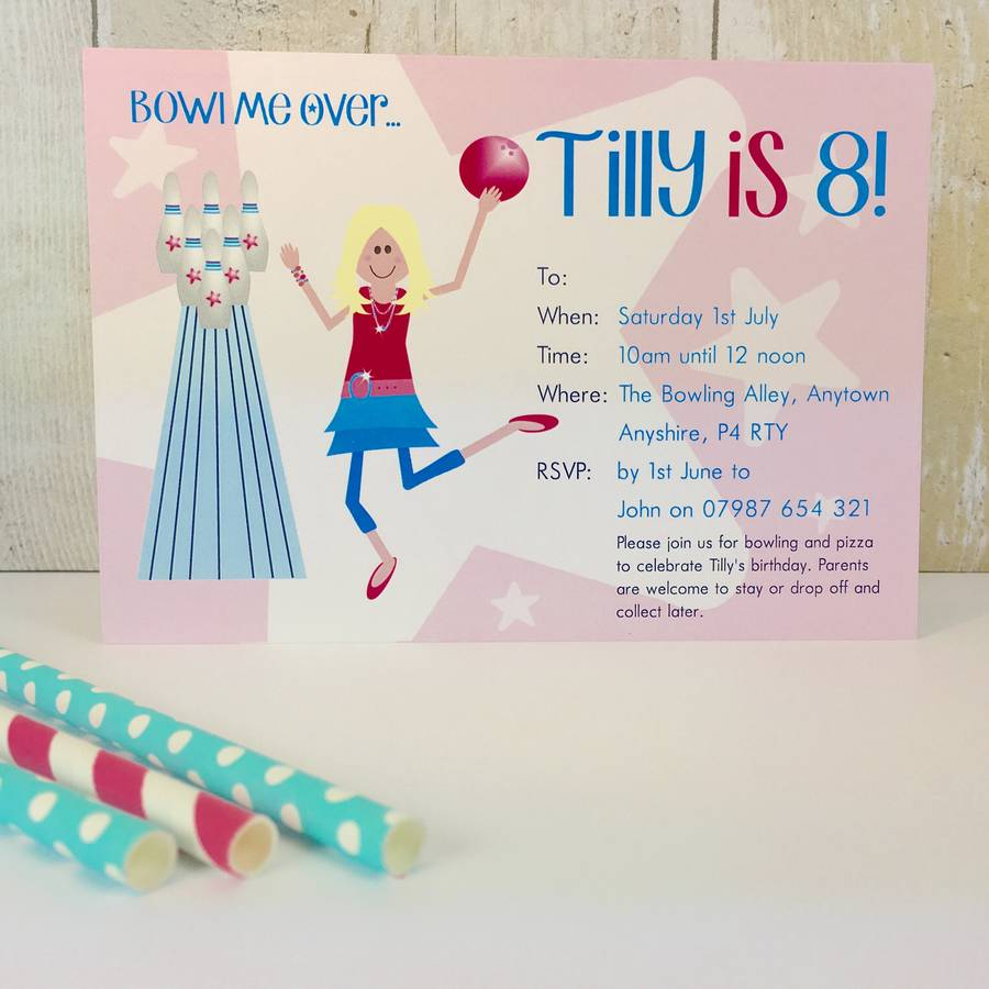 16 girls bowling party invitations or thank you cards by little fish