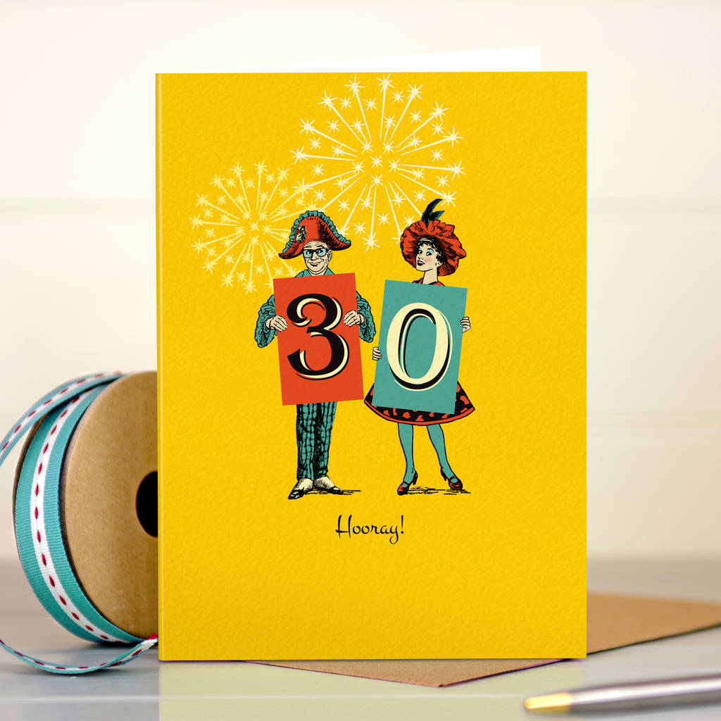 Funny 30th Birthday Card '30 Hooray!'