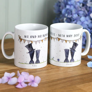 Personalised Wedding 'Mr And Mr' Welly Boot Mugs - best anniversary gifts