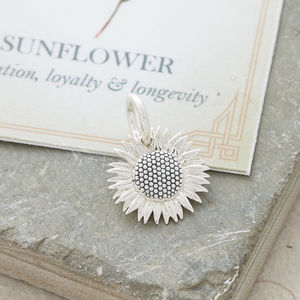 Sunflower Solid Silver Charm - charm jewellery