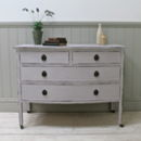 Distressed Vintage Bow Fronted Chest Of Drawers