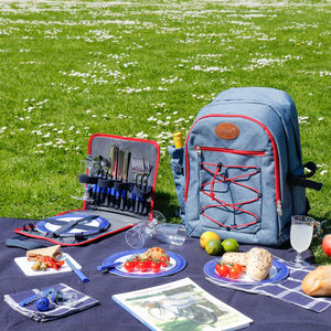 Snowdonia Large Hikers Denim And Red Picnic Bag - picnic bags