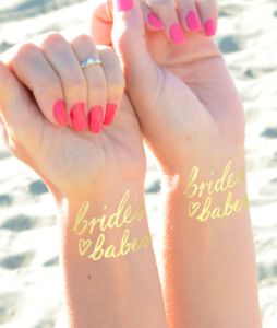 Bride's Babes Gold Metallic Temporary Tattoo - temporary tattoos