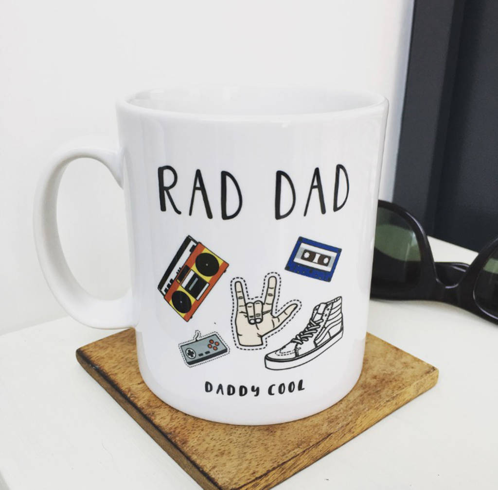 personalised rad dad fathers day mug by hendog designs