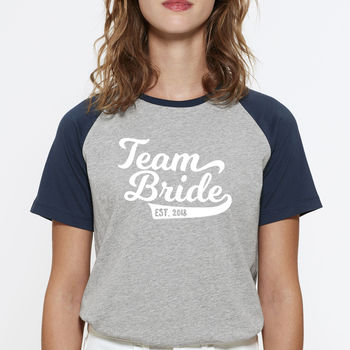 Team Bride Baseball Wedding/Hen Party Organic T Shirts