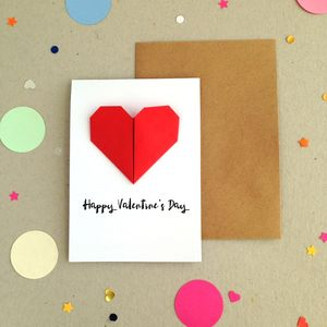 Personalised Origami Heart Valentines Day Card - new in
