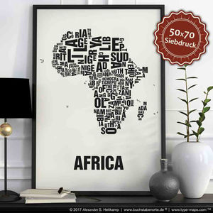 Africa Letter Map Screen Print - posters & prints