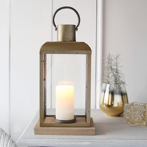 Bronze Lantern With Wooden Base