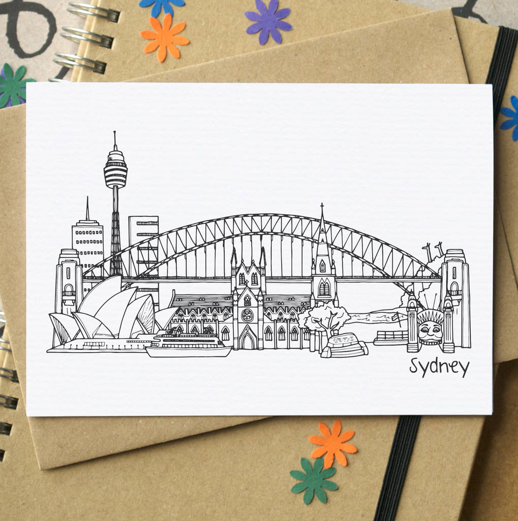 Sydney australia skyline greetings card by becka griffin sydney australia skyline greetings card m4hsunfo
