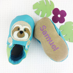 Personalised Emroidered Sloth Baby Shoes