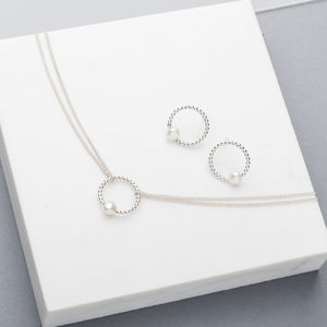 Luna Pearl Stud Earrings And Pendant Jewellery Set