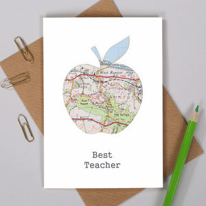 Teacher's Thank You Map Location Apple Card - thank you cards