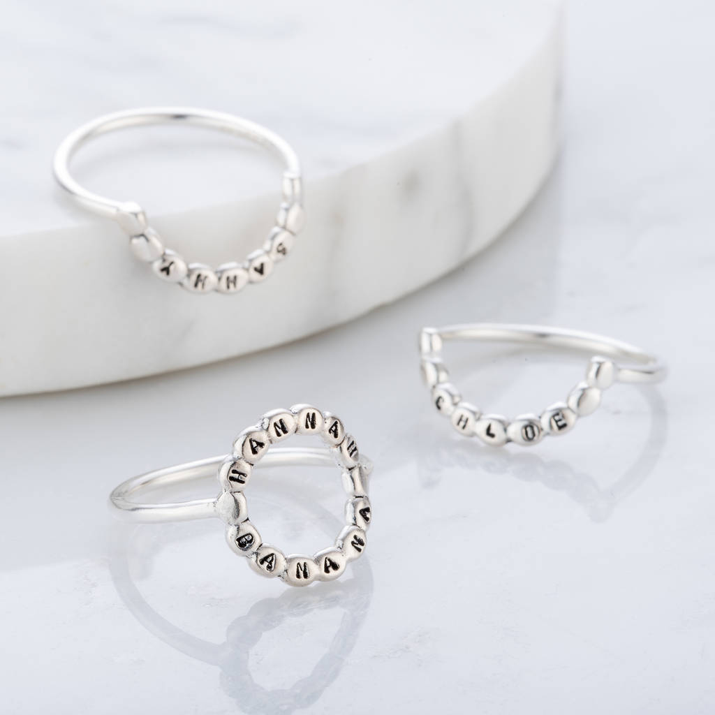 Personalised Bead Crescent Ring Set