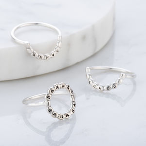 Personalised Bead Crescent Ring Set - rings