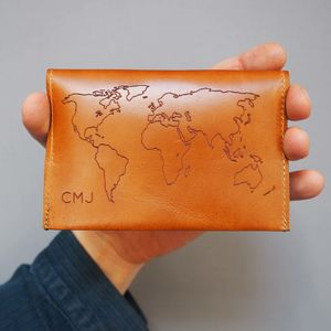 Personalised Leather Passport Holder With World Map - frequent traveller