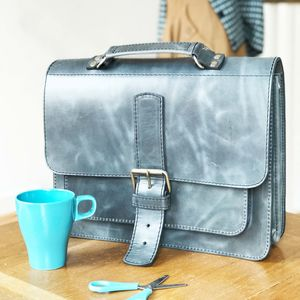 Blue Leather Satchel Handmade In London - bags