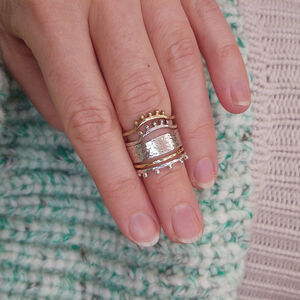 Gold And Silver Hammered Bobble Ring Stack