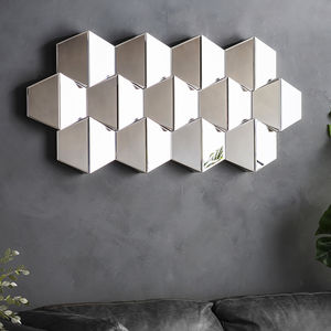 All Glass Faceted Wall Mirror