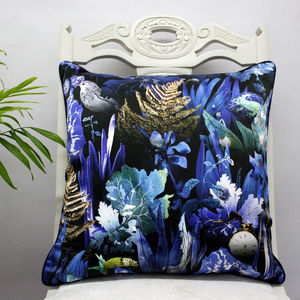 Dark Botanical Leaves Luxury Silk Cushion