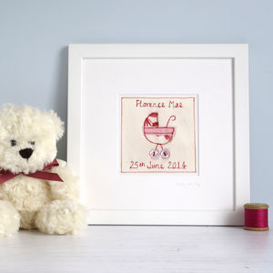 Personalised New Baby Girl Picture - textile art