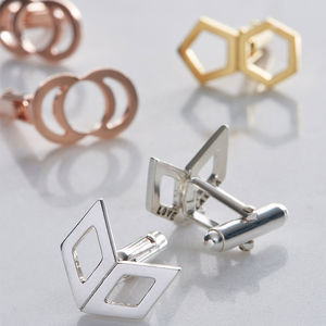 Personalised Geometric Cufflinks - men's jewellery