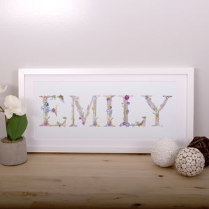 Personalised Name Print In Botanical Lettering - gifts for children