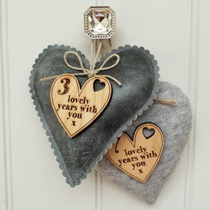 3rd Wedding Anniversary Leather Heart With Oak Message - cushions