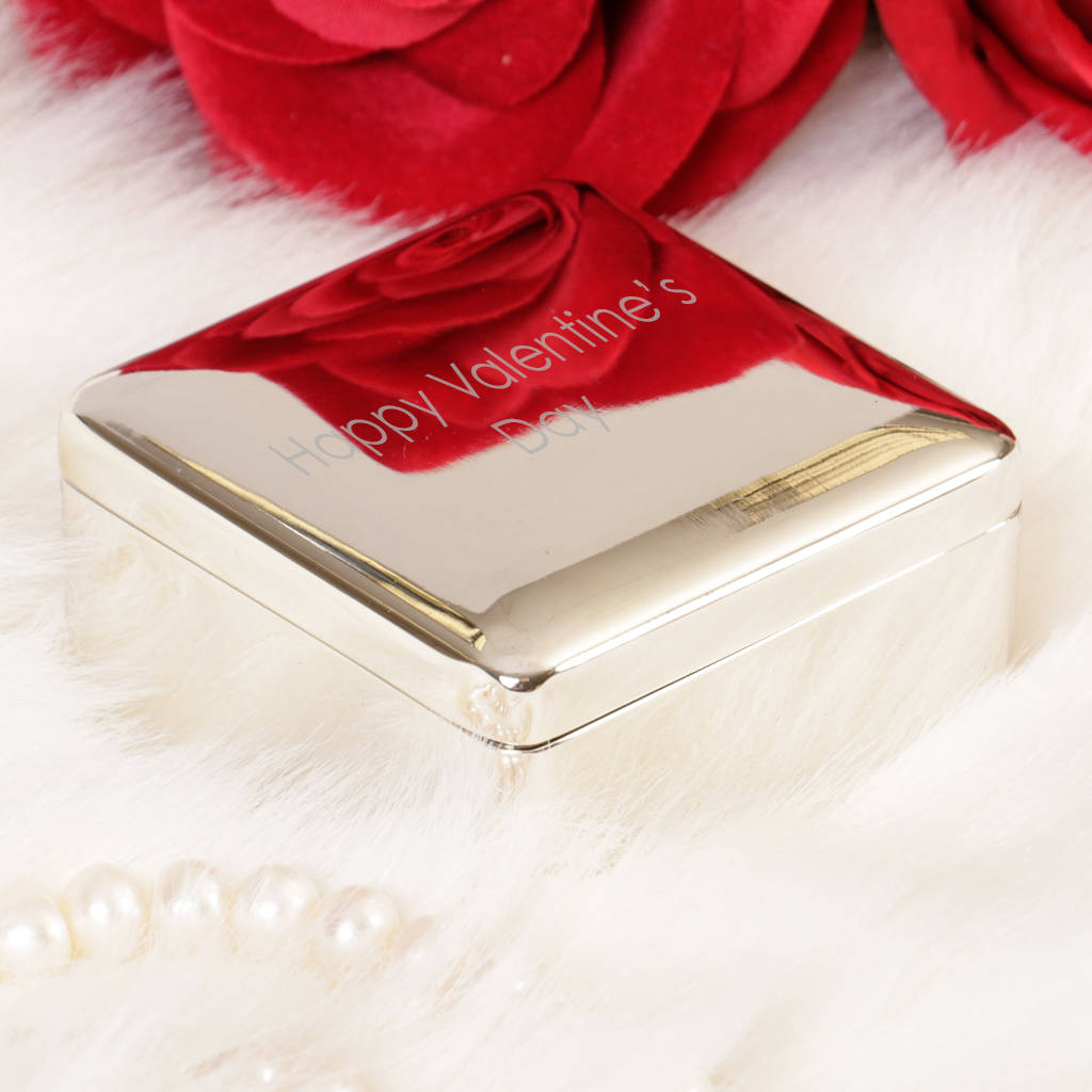 Silver Plated Personalised Square Trinket Box