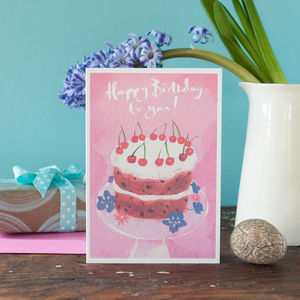 Happy Birthday Cake Card Can Be Personalised - birthday cards