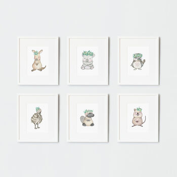 Child's Australian Baby Animal Nursery Wall Art Print