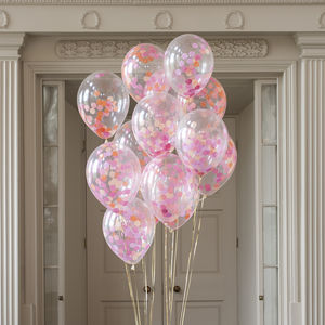Pack Of 14 Flamingo Pink Confetti Balloons - room decorations