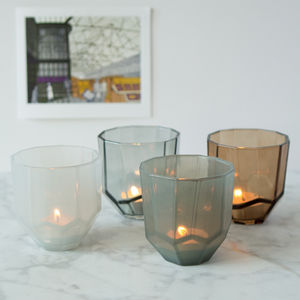 Geometric Glass Tealight Holder