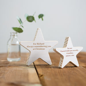 Personalised Wooden Star Keepsake - gifts for grandparents