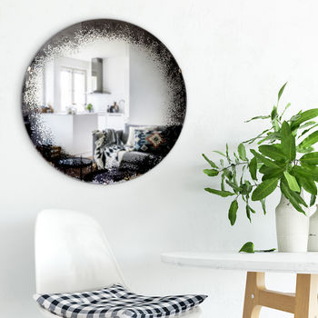 Antiqued Black Rim Round Mirror