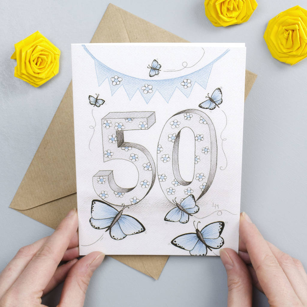 Happy 50th Birthday Greeting Card By Yellow Rose Design