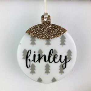 Christmas Tree Bauble With Gold Glitter Acrylic Topper - tree decorations