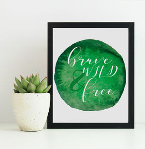Brave Wild And Free Watercolour Print - children's room