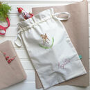Personalised Hand Embroidered Christmas Drawstring Sack