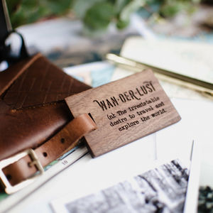 Personalised Wood Luggage Tag Wanderlust - gifts for fathers