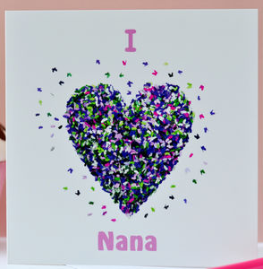 I Love Nana / We Love Nana Butterfly Heart Card