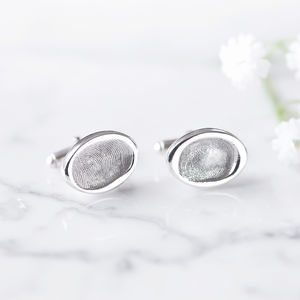 Silver Fingerprint Oval Wedding Cufflinks - gifts for the groom